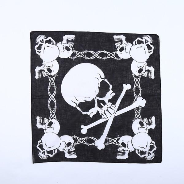 Bandana Totenkopf Halstuch Schwarz Weiß 55 cm x 55 cm