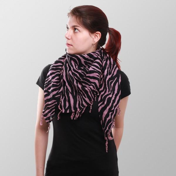 Damen Zebrafell Optik Halstuch mit Modischen Fransen in Pink Schwarz
