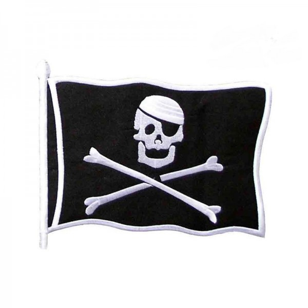 Schwarze Piraten Fahne XXL Aufbügler Patch