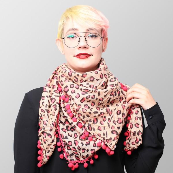 Pinkes Leoprint Halstuch mit Pinken Bommeln