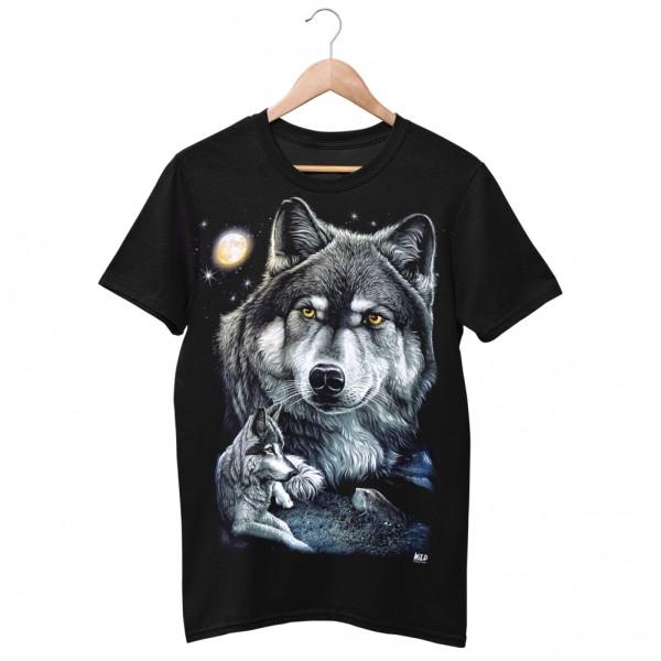 Wild Motiv Shirt Schwarz Liegender Wolf