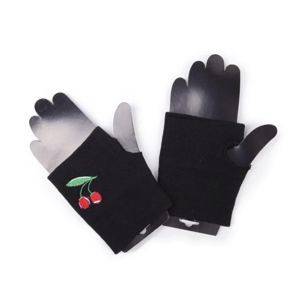 Fingerlose Handschuhe mit Kirschen Stickerei