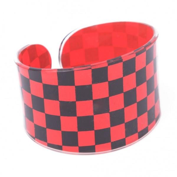 Rot Kariertes Plastik Armband