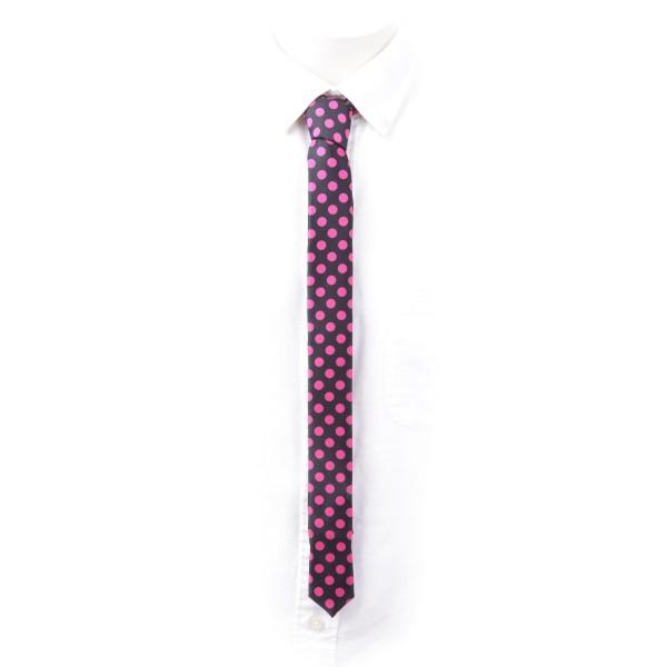 Schmale Schwarze Krawatte mit Pinken Punkten Aufdruck