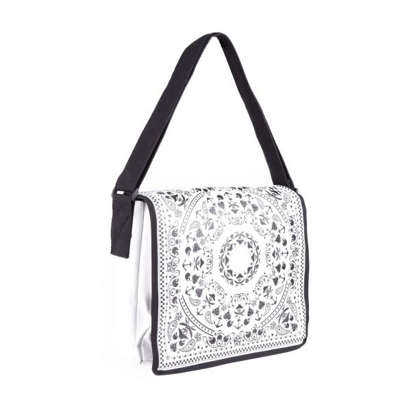 Paisley Print Streetwear Messenger Tasche in Weiß mit Schwarzem Aufdruck