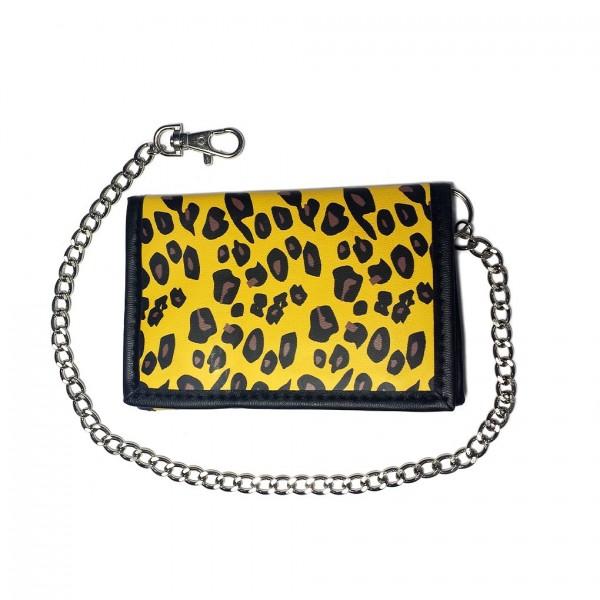 Gelbe Leoparden Aufdruck Geldbörse mit Kette