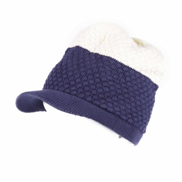 Alternative Bicolor Blau Nude Strickmütze mit Schirm Unisex
