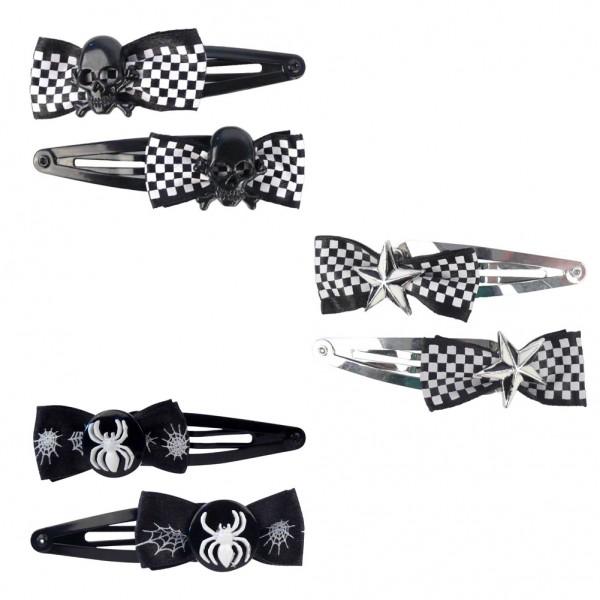 Schwarz weiße Haarspangen Karo Design 3er Set