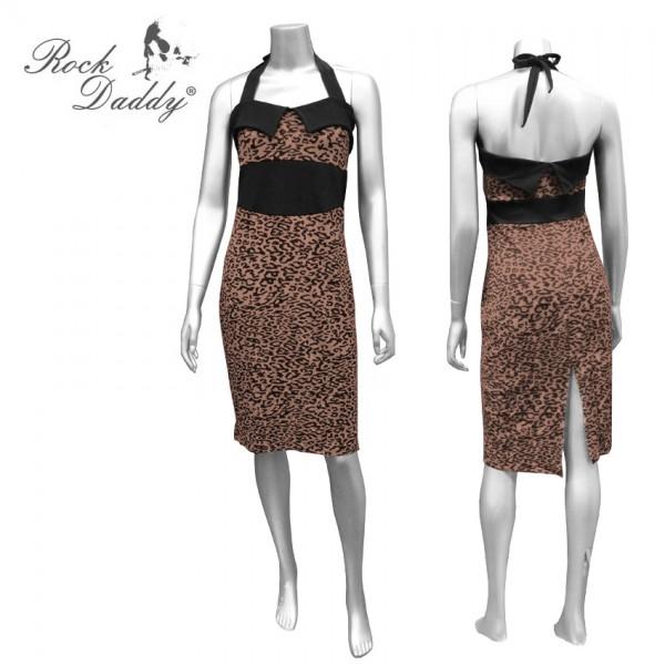 Rockabilly Neckholder Leopard Kleid braun