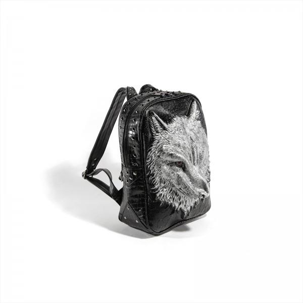 Premium 3D Wolf Rucksack in Silber