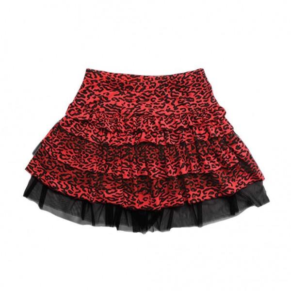 Little Diamond New York Mädchen Leoparden Tüll Rock in Schwarz Rot Muster