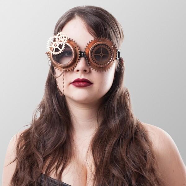 Endzeit Brillen mit Zahnrädern in Bronze Steampunk Schweißerbrille Kupfer