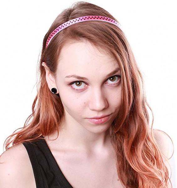 Rockabilly Haarreif Satin Pink mit Sternen