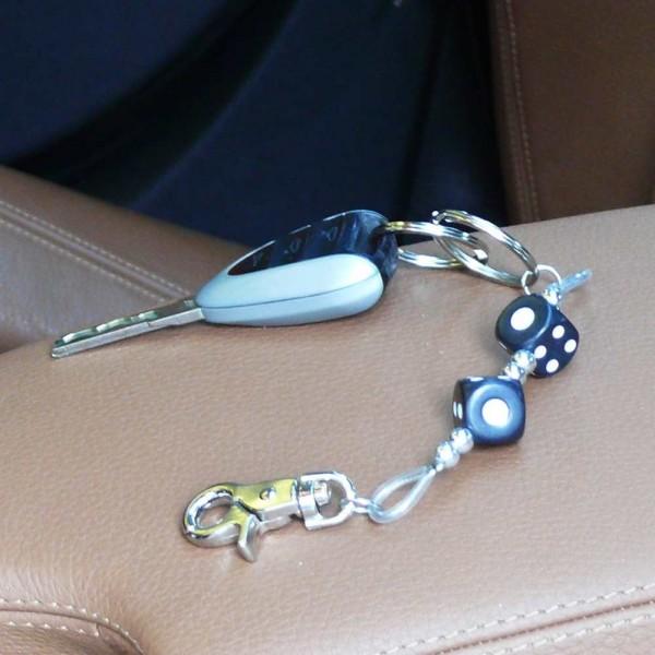 Würfel Schlüsselanhänger zweireihig in Schwarz