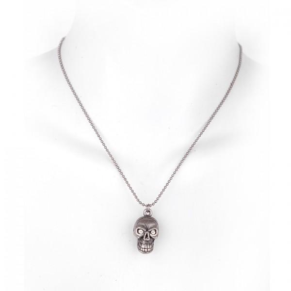 Metallkette mit Totenkopf Anhänger (Strass Augen) - Silber