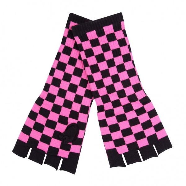 Hype Schachbrett Stulpen Handschuhe Schwwarz Pink