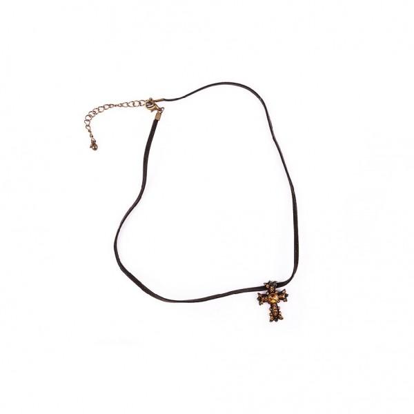 Leder Halskette-Kette INDIANER Schmuckkette Halsschmuck Ethno Amulett Kreuz 100% Echtleder