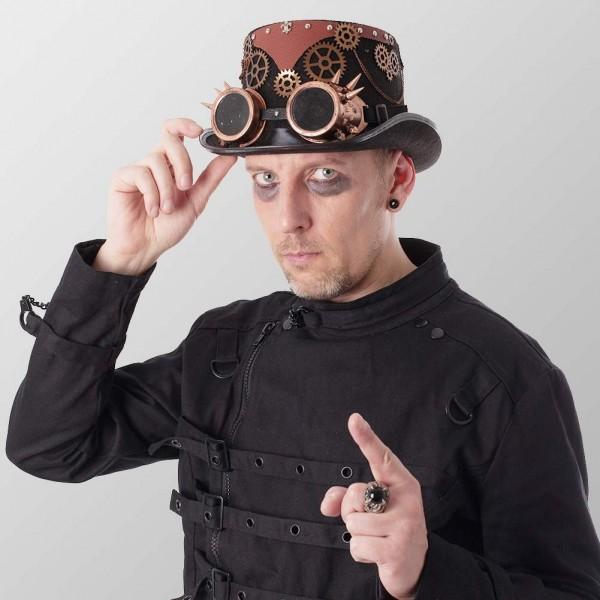 Bronze Retro Steampunk Zylinder mit Spike Brille Zylinder Hut Schwarz