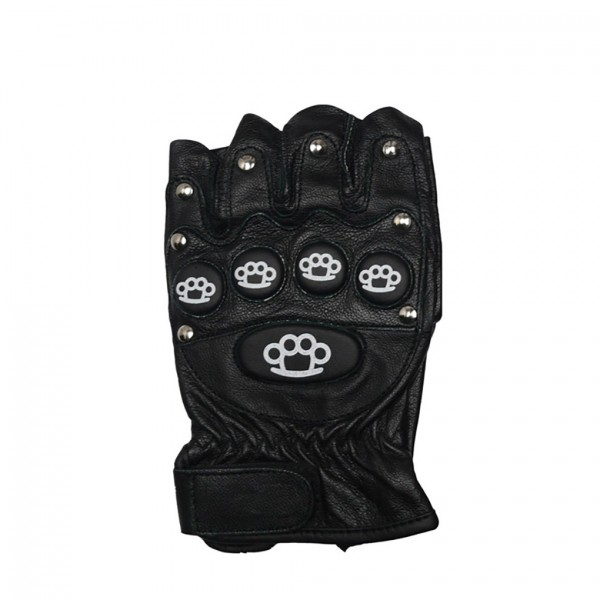 Lederhandschuhe mit Abgestepptem Protektoren und Aufdruck