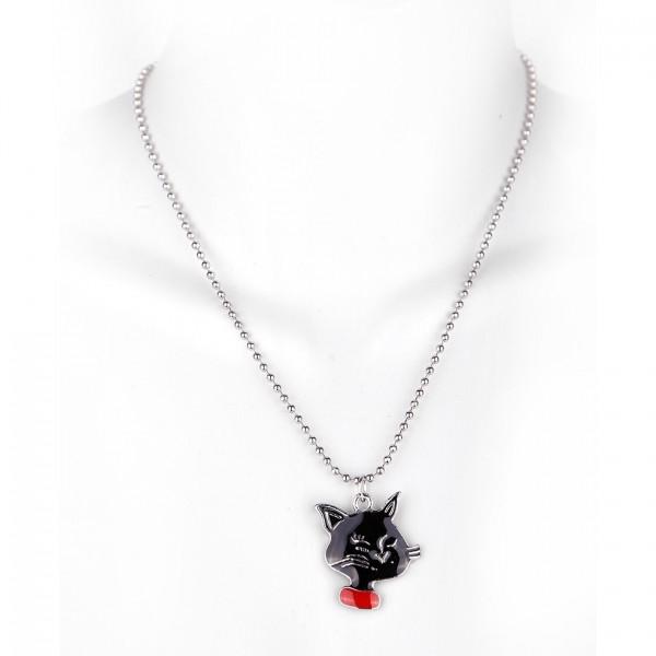 Metallkette mit Anhänger - Schwarzer Katze