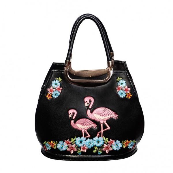 Banned Vintage Handtasche Flamingos Stickerei