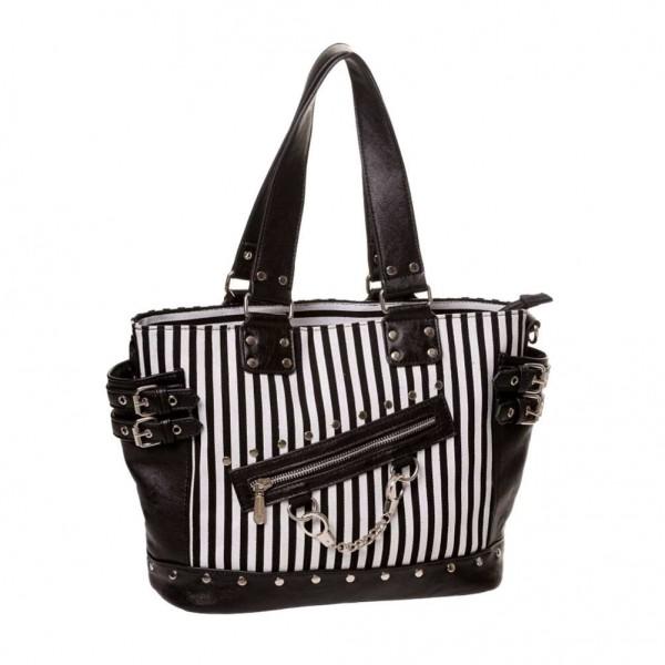 Banned Schwarz Weiß Gestreifte Handtasche mit Handschellen