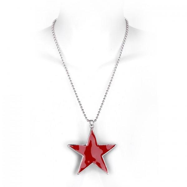 Metallkette mit Anhänger - roter Stern