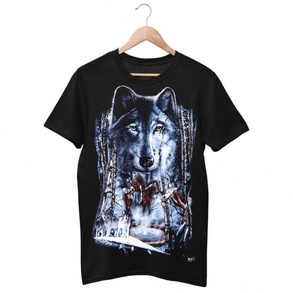 Wild Motiv Shirt Schwarz Einsamer Wolf Häuptling