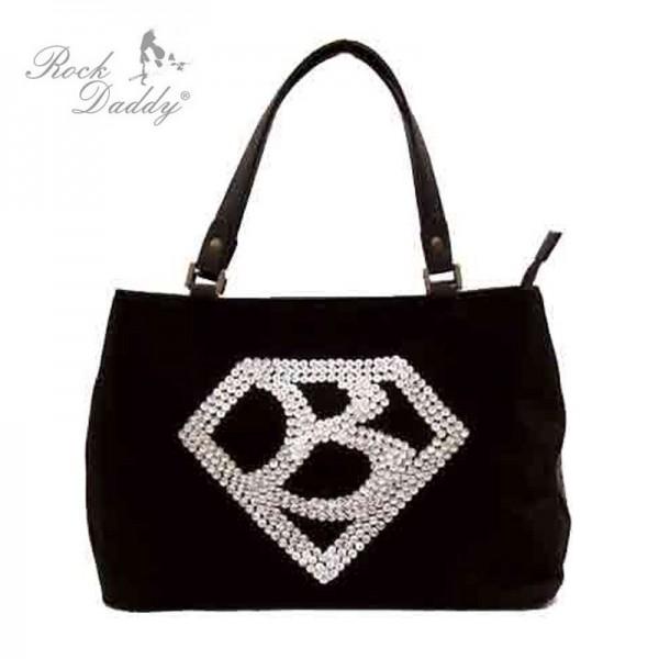 Tasche mit Stickereien mit einem Diamant und einen B im Diamant