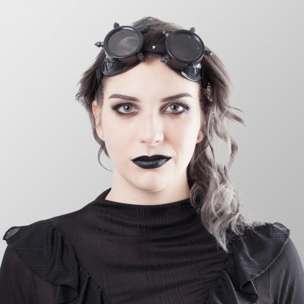 Steampunk Brillen mit Spitzen auf Beiden Seiten in Schwarz Schweißerbrille Schwarz