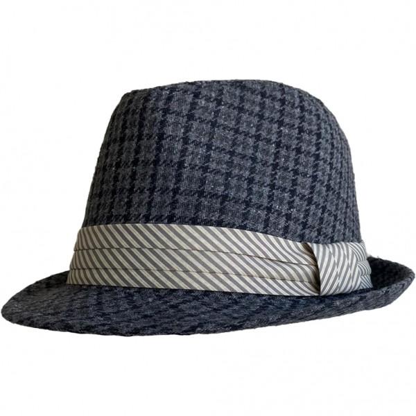 Schwarz Grau Karierter Hut mit Hellem Hutband