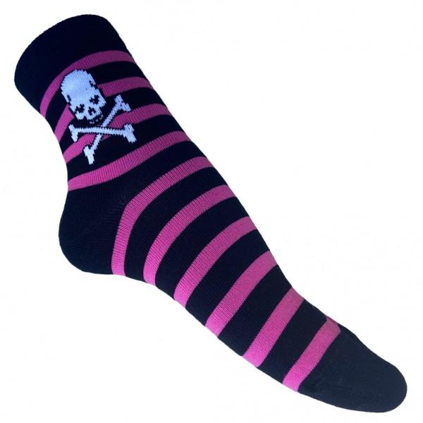 Schwarz Pink Piraten Skull Gestreift one size