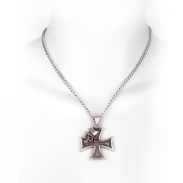 Metallkette mit Anhänger - Eisernes Kreuz mit Totenkopf