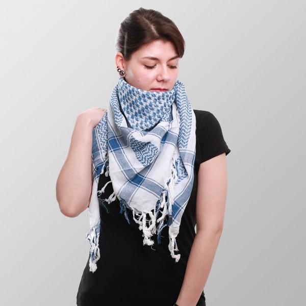 Arafat Pali Halstuch in Blau Weiß Gewebtem Muster