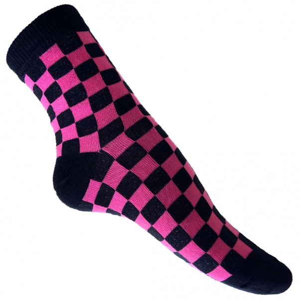 Schwarz Pink Schachbrett Socken one size