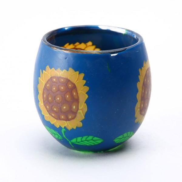 Fimo Glaswindlicht handgemacht blau mit Sonnenblumen