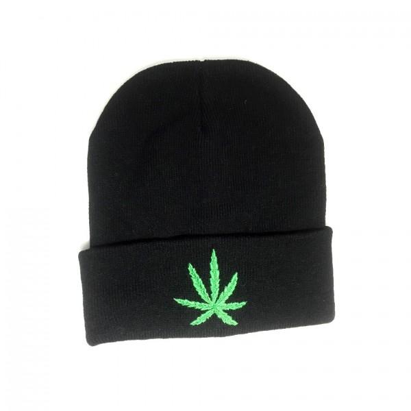 Marihuana Blatt Winter Strickmütze one size