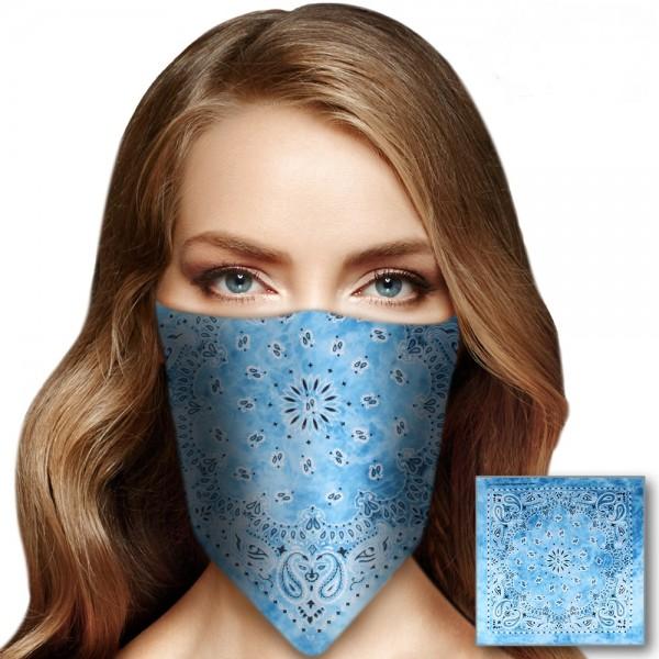 Bandana Halstuch Tie Dye Paisley Hellblau 55 cm x 55 cm