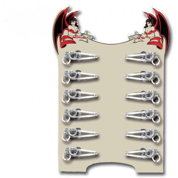 Haarschieber Display Silberne Handschellen