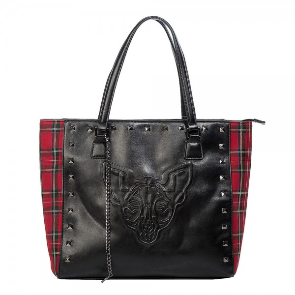 Banned Alternative Phantom Handtasche rot schwarz tartan