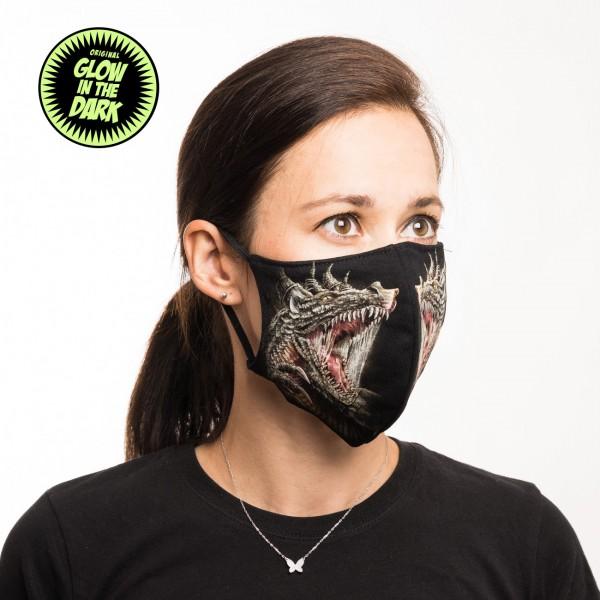 Attack Drache Glow in the Dark Stoffmaske