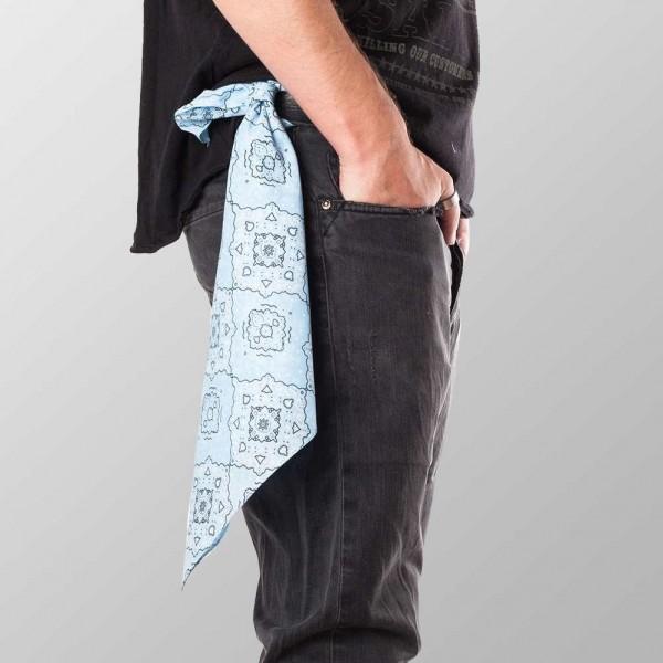 Bandana Halstuch Hellblau Paisley 55 cm x 55 cm
