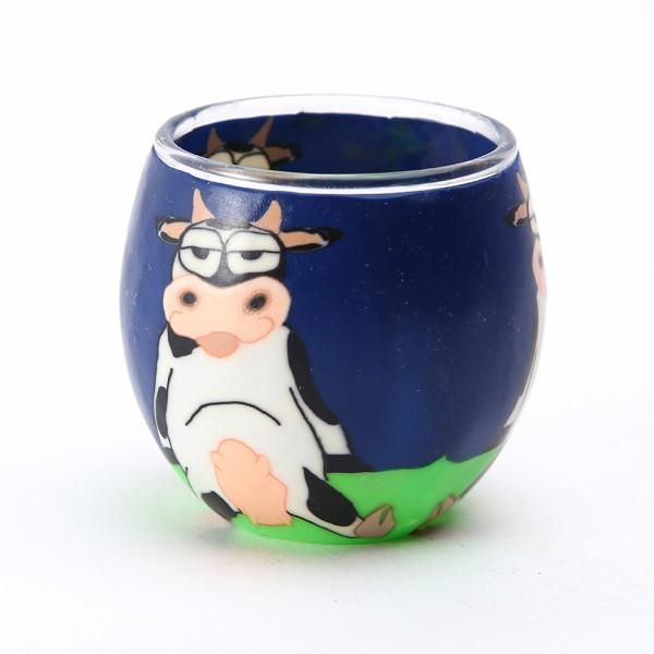 Fimo Glaswindlicht handgemacht blau mit Kuh