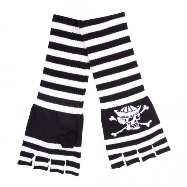 Death Seemann Streifen Handschuhe Schwarz Weiß