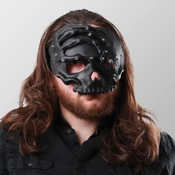 Halbschädel Maske mit der Hand - Schwarz