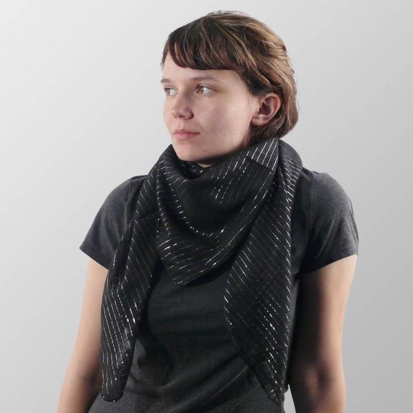 Uni Farbenes Schwarzes Lurex Halstuch aus Weicher Gewebter Baumwolle