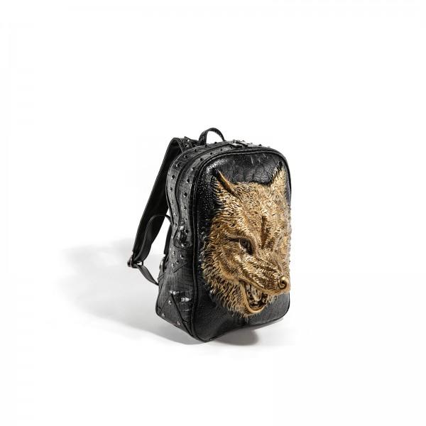 Premium 3D Wolf Rucksack in Gold