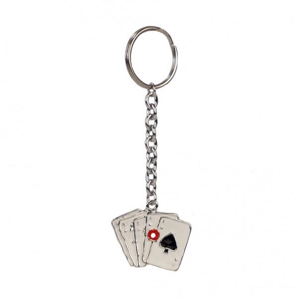 Metall Schlüsselanhänger Kartenspiel As