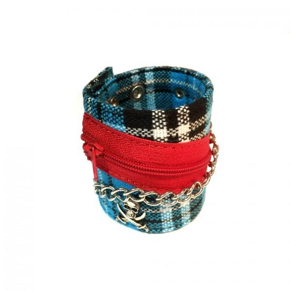 Blau Kariertes Stoff Armband mit Metall-Accessoires