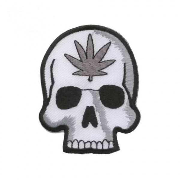 Totenkopf Patch Marihuana Leaf
